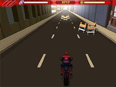 Человек паук на мотоцикле
