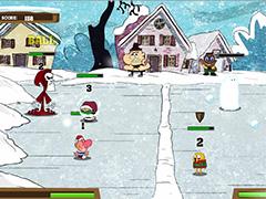 Фин и Джейк играют в снежки