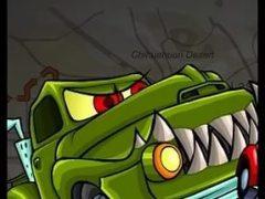 Красная машина против монстров